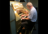 Richard tries his hand at the Wurlitzer on Rehearsal day at the Musical Museum, Kew Bridge Wurlitzer for the ATOS UK YTOY - July 2014