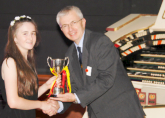 Freya receiving the Christie Cup for most promising entrant at the 2016 ATOS UK Young Theatre Organist of the Year Competition at the Astoria Centre Barnsley - September 2016