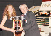 Lucy receiving the Dean Herrick Trophy at the 2016 ATOS UK Young Theatre Organist of the Year Competition at the Astoria Centre Barnsley - September 2016 - for the previous year's entrant who has done the most to further the theatre organ in the UK
