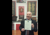 Richard Moore at Rye Town Hall to receive a donation for the RWA from The Rye Fund - January 2017